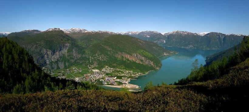 Sognefjord Foto vom Berg aus