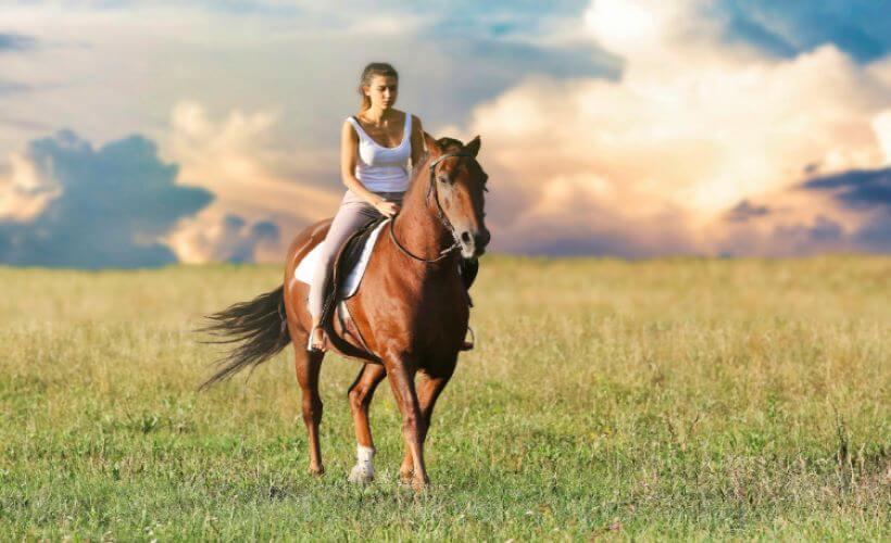 ein Mädchen reitet auf einer Wiese