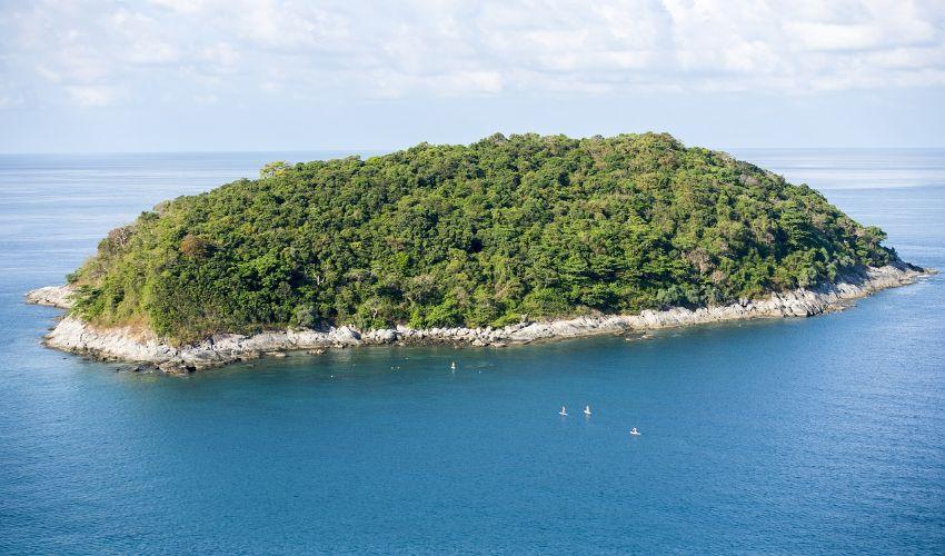 Eine kleine unbewohnte Insel komplett mit Bäumen bewachsen.