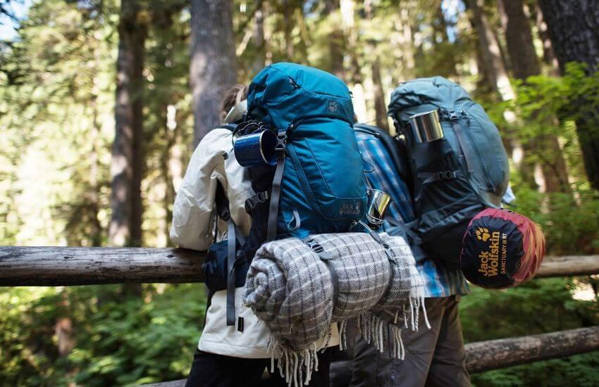 2 Backpacker mit einem Rucksack am Rücken stehen im Wald angelehnt an einer Holzbrüstung.
