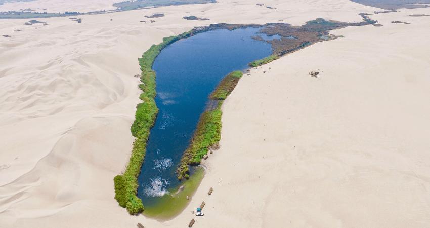 Ein See, mit einem schmalen grünen Streifen rundum, umgeben von Wüstensand.