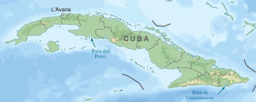 Eine Landkarte von Kuba